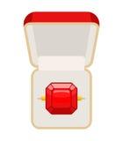 Anillo con el rubí Abra la caja para la joyería Ejemplo para el desposorio Foto de archivo libre de regalías