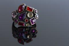 Anillo con las piedras de cristal Imagen de archivo libre de regalías