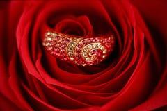 Anillo con los diamantes en una Rose Fotografía de archivo