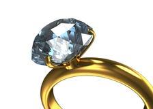 Anillo con un diamante grande Imágenes de archivo libres de regalías
