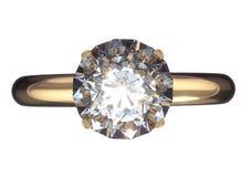 Anillo de bodas con el diamante grande Imagen de archivo libre de regalías