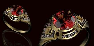 Anillo de bodas del oro con el diamante Fotos de archivo libres de regalías