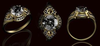 Anillo de bodas del oro con el diamante Foto de archivo