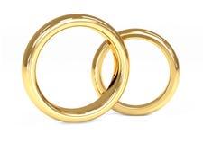 Anillo de bodas del oro dos 3d Imagen de archivo