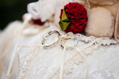 Anillo de bodas en la almohadilla Fotografía de archivo libre de regalías