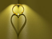 Anillo de bodas que echa un corazón Fotografía de archivo libre de regalías