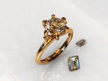 Anillo de compromiso del oro del diamante del solitario Foto de archivo
