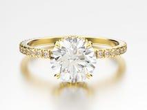 anillo de compromiso tradicional del oro amarillo del ejemplo 3D con el diámetro Fotografía de archivo