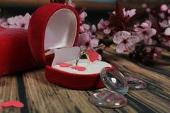 Anillo de compromiso ¿Usted me casará? foto de archivo