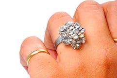 Anillo de diamante de la boda Imagen de archivo libre de regalías