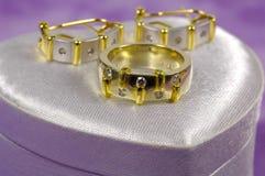 Anillo de diamante y Earings imagen de archivo