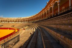 Anillo de la lucha de Bull en Sevilla, España fotos de archivo libres de regalías