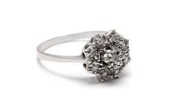 Anillo de la plata del flor del diamante Foto de archivo libre de regalías