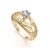 Anillo de oro agradable con el diamante Imagen de archivo
