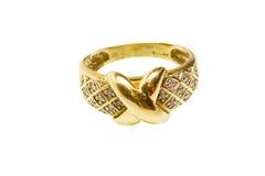 Anillo de oro amarillo con los diamantes Foto de archivo