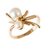 Anillo de oro con las perlas Fotografía de archivo