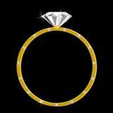 Anillo de oro con un diamante grande y muchos pequeños Imagenes de archivo