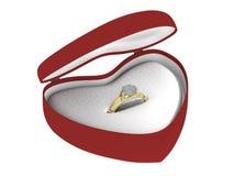 Anillo de oro del regalo en un diverso ángulo del rectángulo Imágenes de archivo libres de regalías