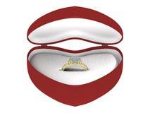 Anillo de oro del regalo en un rectángulo Foto de archivo