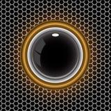 Anillo de oro negro de la bola en vector de la malla del hexágono del metal Foto de archivo