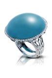 Anillo de plata elegante con una piedra preciosa azul Imagen de archivo