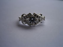 Anillo del vintage con el diamante Foto de archivo
