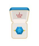 Anillo en rectángulo Joyería para las bodas y los compromisos Te amo Zafiro RRing Ilustración del vector para el día de tarjetas  Imágenes de archivo libres de regalías