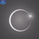 Anillo ligero del vector El marco brillante redondo con las luces saca el polvo de las partículas del rastro aisladas en fondo tr Imagen de archivo libre de regalías