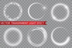 Anillo ligero del vector El marco brillante redondo con las luces saca el polvo de las partículas del rastro aisladas en fondo tr Imagenes de archivo