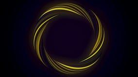 Anillo que brilla intensamente abstracto de torcer la fibra con colores del centelleo aislada en fondo negro animaci?n Amarillo b ilustración del vector