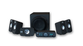 Anillo - sistema sano del audio, amplificador con seis altavoces en el fondo blanco Imagen de archivo libre de regalías