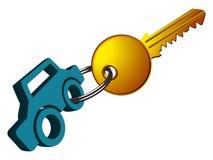 Anillo y clave del coche Imagen de archivo