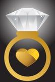 Anillo y corazón de diamante Fotografía de archivo