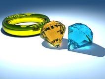 Anillo y diamante Imagen de archivo