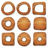 Anillos, círculos y formas de madera para el juego de Ui Fotografía de archivo libre de regalías