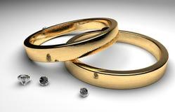 Anillos de bodas con el diamante Imagen de archivo libre de regalías