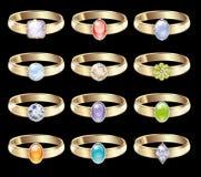 Anillos de bodas con los diamantes stock de ilustración