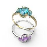 Anillos de bodas con los diamantes forme la joyería Imagenes de archivo