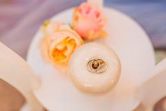 Anillos de bodas de un par nuevo-casado en un amortiguador para los anillos Fotografía de archivo libre de regalías