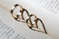 Anillos de bodas del oro Imagen de archivo