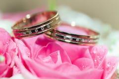 Anillos de bodas del oro en la flor. Foto de archivo