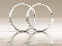 Anillos de bodas del platino en el agua Imagen de archivo
