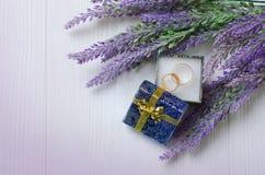 Anillos de bodas en caja azul Imágenes de archivo libres de regalías