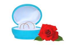 Anillos de bodas en caja de regalo azul y la rosa del rojo aisladas en blanco imagen de archivo