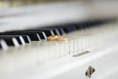 Anillos de bodas en el piano foto de archivo