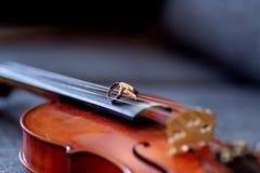 Anillos de bodas en el violín foto de archivo