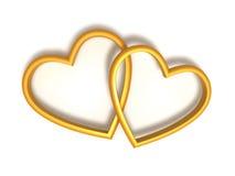 Anillos de bodas en forma de corazón Imagen de archivo libre de regalías