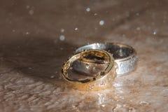 Anillos de bodas en la lluvia Foto de archivo libre de regalías