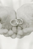 Anillos de bodas en manos Fotos de archivo