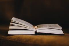 Anillos de bodas en un libro imagenes de archivo